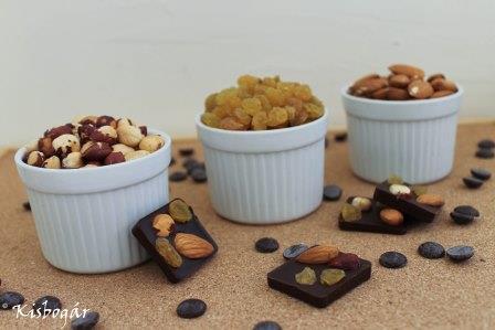 magvak, aszalt gyümölcsök és csokoládé