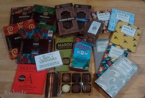 A begyűjtött csokik nagy része (még volt néhány bonbon a Chocolate Tree-ből, de az utazást nem nagyon bírták, így nem voltak túl fotogének)